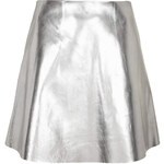 Topshop **Silver Leather Skirt by Unique