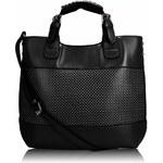 Černá perforovaná kabelka LS fashion LS00268 černá