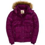 Dámská zimní fialová bunda s kožíškem Timeout