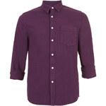 Topman Mens Solid Wine Long Sleeve Denim Shirt