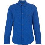Topman Mens Blue Space Dye Long Sleeve Flannel Shirt