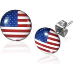 I-Moda Ocelové náušnice vlajka USA DAMSON th-leb289