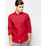 ASOS Poplin Shirt In Long Sleeve - Red