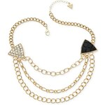 Guess Řetízek Gold-Tone Pavé and Black Triangle Three-Row Necklace