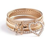 Guess Náramek Gold Tone Bangle Set With Faux Pearls