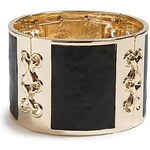 Guess Náramek Gold Tone and Black Stretch Leather