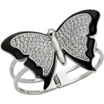Guess Náramek Butterfly Bangle černý
