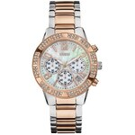 Guess Hodinky Silver And Rose Gold-Tone Dazzling Sporty Chronograph Watchs