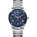 Guess Hodinky Silver-Tone and Blue Roman Watch