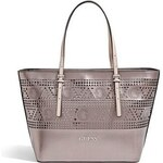 Guess Kabelka Delaney Laser-Cut Small Classic Tote cínová