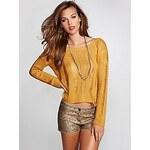 Guess Svetr Long-Sleeve Shredded Crop Sweater žlutý, velikost S