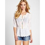 Guess Halenka Three-Quarter Sleeve Embroidered Peasant Top, velikost L