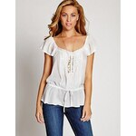 Guess Halenka Flutter-Sleeve Pintuck Top In White, velikost L