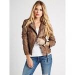 Guess Kožená bunda Lara Genuine Leather Jacket hnědá, velikost XS