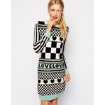 Love Moschino Knitted Dress in Pastel Hearts and Squares Print - Multi