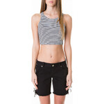 Tally Weijl Black & White Striped Crop Top