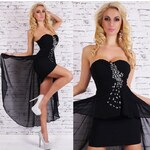LM moda Plesové šaty černé s kamínky ST156