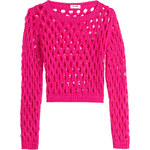 Moschino Cheap and Chic Cropped Knit Mesh Pullover