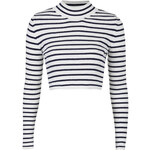 Topshop Striped Funnel Neck Crop Sweater