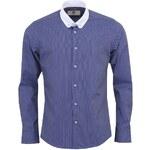 Modrá vzorovaná košile s bílým límcem Bertoni Slim Fit