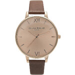 Topshop **Olivia Burton Big Dial Tan and Rose Gold Watch