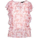 Tally Weijl Pink Floral Print Top with Ruffles