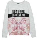 "Tally Weijl Grey Floral ""Bloom"" Print Sweater"