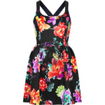 Topshop **Floral Skater Dress With Cross Over Straps by Rare