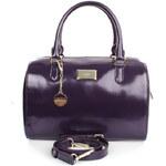 Dámská fialová kabelka s přívěskem a zipem ve zlatém tónu DKNY