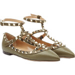 Valentino Leather Rockstud Ballet Flats