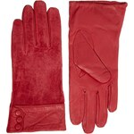 Totes Leather And Suede Button Cuff Gloves - Red