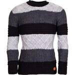 Pánský pruhovaný svetr YOUNG & RICH - Black/Antracit