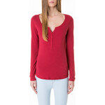 Tally Weijl Red Buttoned Roll-Up Sleeve Top