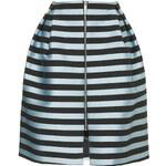 Topshop Striped Zip Midi Skirt