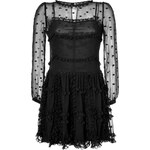 RED Valentino Silk Dot Embroidered Long Sleeve Dress