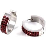 Giovanni Bertolucci Náušnice - kruhy s kamínky červená