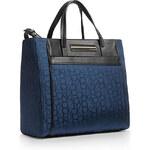 Tmavě modrá kabelka Calvin Klein logo jacquard shopper