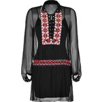Haute Hippie Silk Embroidered Lace Front Dress