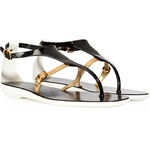 Sergio Rossi PVC/Leather Thong Sandals