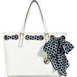 Michael Michael Kors Leather Shopper Tote with Woven Scarf Detail