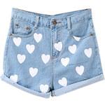 ROMWE Hearts Print Ligth-blue Denim Shorts