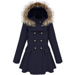 ROMWE Hooded Pleated Dark-blue Coat