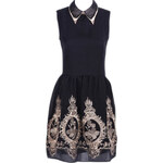 ROMWE Zippered Flower Embroidered Pleated Black Dress