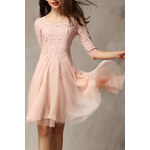 ROMWE Floral Embroidered Layered Mesh Pink Dress
