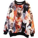 ROMWE Contrast Trimming Cats Print Sweatshirt