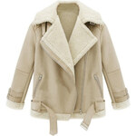 ROMWE Laples Self-belted Long Sleeved White Coat