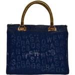J&D Oslnivá modrá lesklá dámská kabelka, LH-022