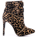 SERGIO TODZI Elegantní leopardí kotníčkové boty s přezkami, MY115LE