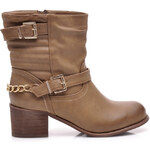 La Bella shoes Stylové khaki workery s přezkami, FR-986KH
