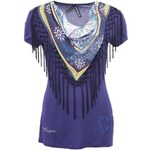 Tmavě modré tričko s třásněmi Desigual Mel